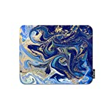 oFloral Marble Gaming Mouse Pad Blue Gold Liquid Texture Glitter Splash Marbling Surface Decorative Mousepad Rubber Base Home Decor for Computers Laptop Office Home 7.9X9.5 Inch