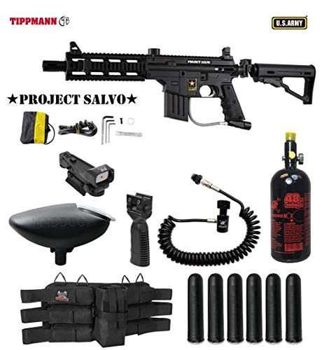 - MAddog Tippmann U.S. Army Project Salvo Tactical HPA Red Dot Paintball Gun Package - Black