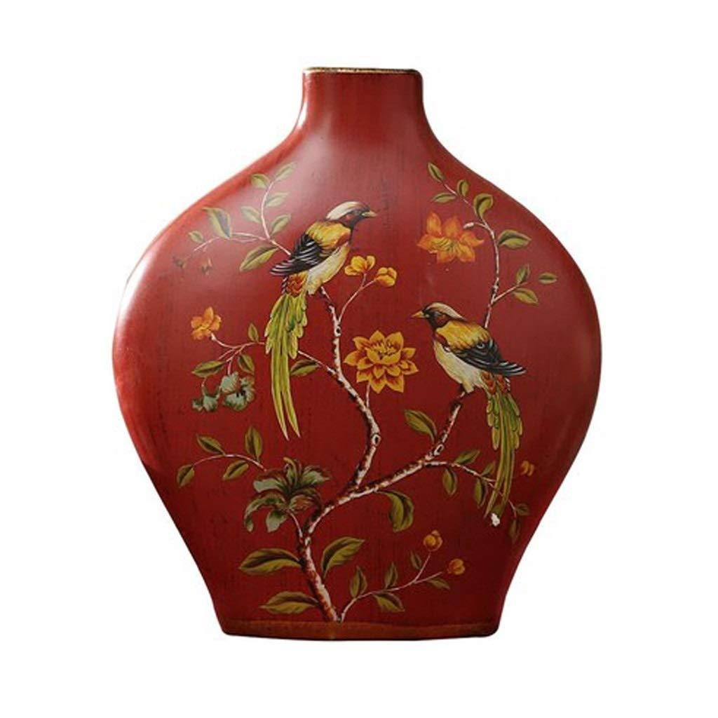 アメリカのレトロ花瓶装飾リビングルームフラワーアレンジメント花家の装飾セラミック装飾赤中国の花 LQX B07R3BPHC5