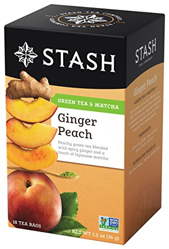 Stash Tea Green Tea, Ginger Peach with Matcha, 18 bags (1.2 oz)