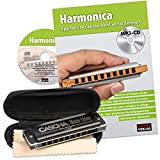CASCHA Harmonica Learning Set Including Harmonica in C Major, Diatonic French Beginners School, Case and Cleaning Cloth, Ideal for Beginners and Adults