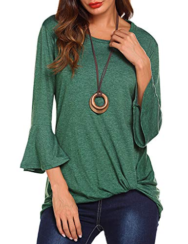 Womens Autumn Tops 3 4 Sleeve Twist Knot Blouses Ruched T Shirt Tops Green,XL