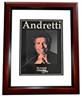 Mario Andretti Signed - Autographed Formula One Racing 8x10 inch Photo MAHOGANY CUSTOM FRAME - Guaranteed to pass PSA or JSA