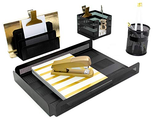 - Blu Monaco Black Desk Organizer for Men - Set of 4 Pieces - Letter - Mail Organizer, Sticky Note Holder, Pen Cup, Paper - Document Tray - Cubicle Organizer Black