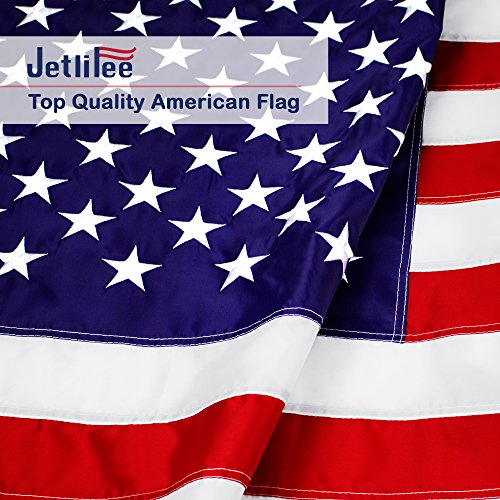 American Flag 3X5 Ft 330D Nylon Embroidered Stars Sewn Stripes and Brass Grommets US Flag. Fast Dry All Weather USA Flag for Outdoors Indoors- Fly It with (2 Side House Banner)