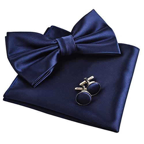 Mens Tuxedo Bow Tie& Hanky& Cufflinks Set (Navy)