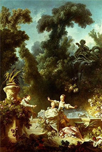 High Quality Polyster Canvas ,the Reproductions Art Decorative Prints On Canvas Of Oil Painting 'Jean-Honore Fragonard - The Progress Of Love - The Pursuit, 1771-72', 16x24 Inch / 41x60 Cm Is Best For Foyer Gallery Art And Home Decoration And Gifts
