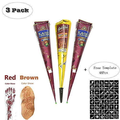 ZEYER Indian Painting Tattoo Stencil/Paste Cone Temporary Brown Red Paste Cones for Body Art Drawing Painting with 48 x Adhesive Stencil Set