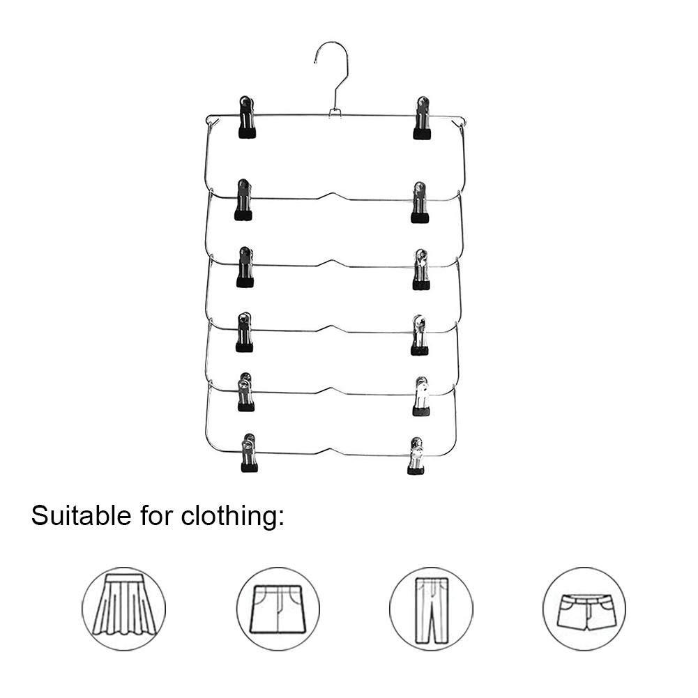 Perchas de Ahorro de Espacio Pantalones de Acero Inoxidable Chengstore Perchas Plegables de 6 Capas para Pantalones Perchas para Faldas con Clips Almacenamiento Simple para Faldas