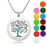 Aromatherapy Diffuser Necklace for Women Jewelry, Lademayh Essential Oil Necklace Tree of Life Locket (2 Chains, 12 Felt Pads)