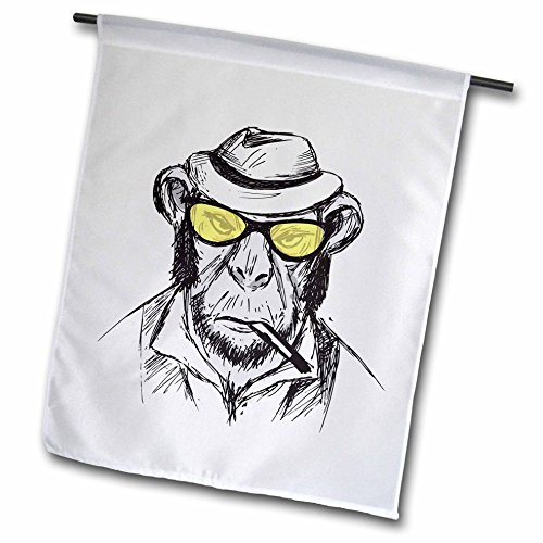 3dRose Sven Herkenrath Animals - Sketch Chimp With Yellow Sunglasses And A Hat Funny - 18 x 27 inch Garden Flag - Sketch Sunglasses