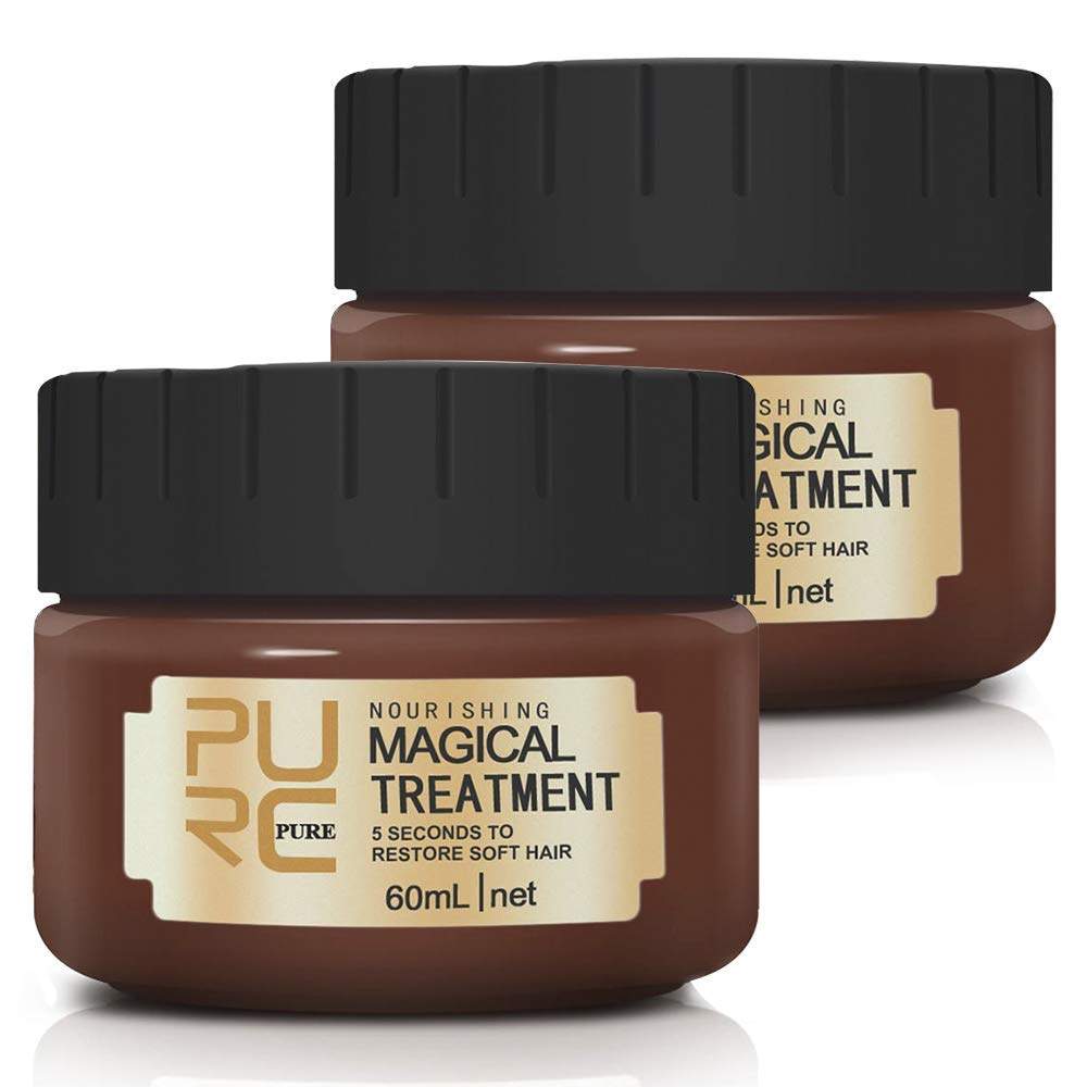 Magical Treatment Hair Mask, Advanced Molecular Hair Roots Treatment, Professional Intense Repair Mask for Dry & Damaged & Colored Hair, Recover Elasticity & lustrous & Soft Hair (2×60ML)