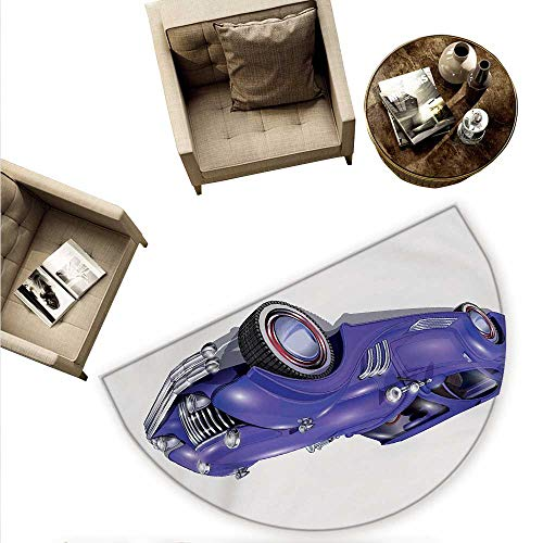 Cars Half Round Door mats Custom Vehicle with Aerodynamic Design for High Speeds Cool Wheels Hood Spoilers Bathroom Mat H 66.9