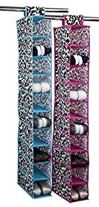 Home Basics 10-Shelf Hanging Closet Organizer - Damask Design (Pink)