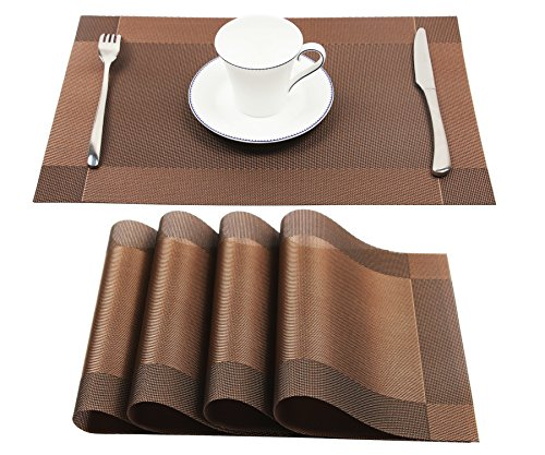 Homcomoda Vinyl Brown Placemats Heat Resistant Dining Table Mats Non-slip Washable Place Mats Set of 4(Brown)