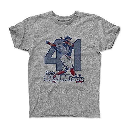 500 LEVEL's Carlos Santana Kids Shirt Youth Small (6-7Y) Heather Gray - Cleveland Baseball Fan Apparel - Carlos Santana Slam - Kids Santana