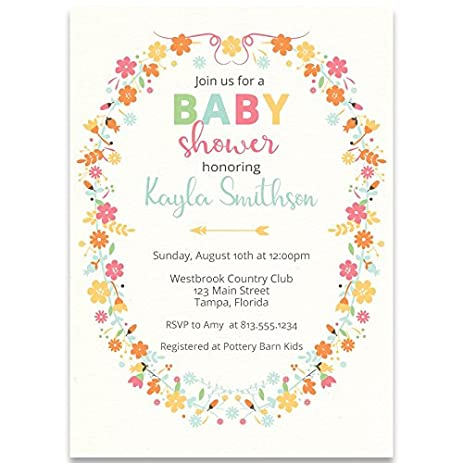 Amazon baby shower invitations bohemian rustic wreath chic baby shower invitations bohemian rustic wreath chic baby girl floral filmwisefo