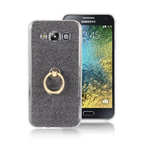 Luxury Bling Sparkle Style Case, Soft TPU [Silicone] Flexible Glitter Back Cover with Fingerring Stand [Anti Scratch] [Shockproof] for Samsung Galaxy E5 ( Color : White ) Black