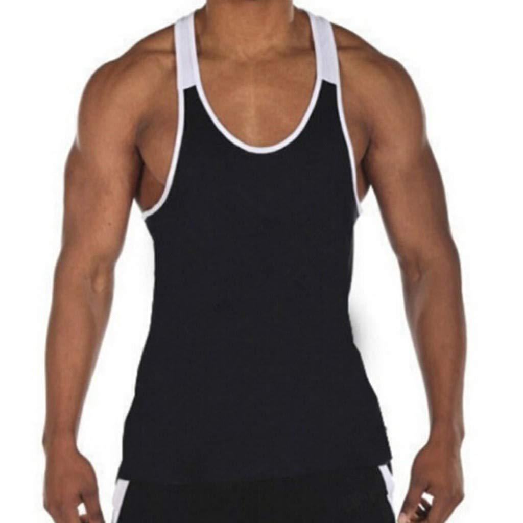 Men Splicing Stripe Sports Vest Striped Splice Large Open-Forked Male Vest for Summer Fashion!