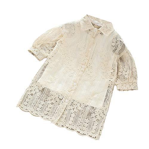 Mornyray Petite Robe En Dentelle Creuse Des Filles Avec De Longs Vêtements Réservoir Fête Gracieuse Couleur Crème
