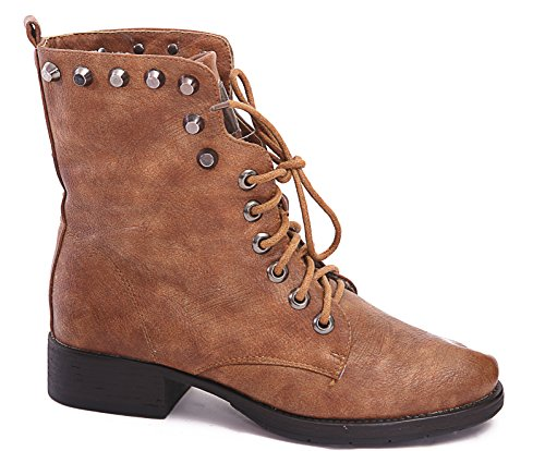 BIKER NEW 4 7 SIZE HEEL LACE BLOCK 8 5 M1150 COMBAT WOMENS UP 3 6 Tan GOTH BOOTS LADIES PUNK ANKLE fqwWpx