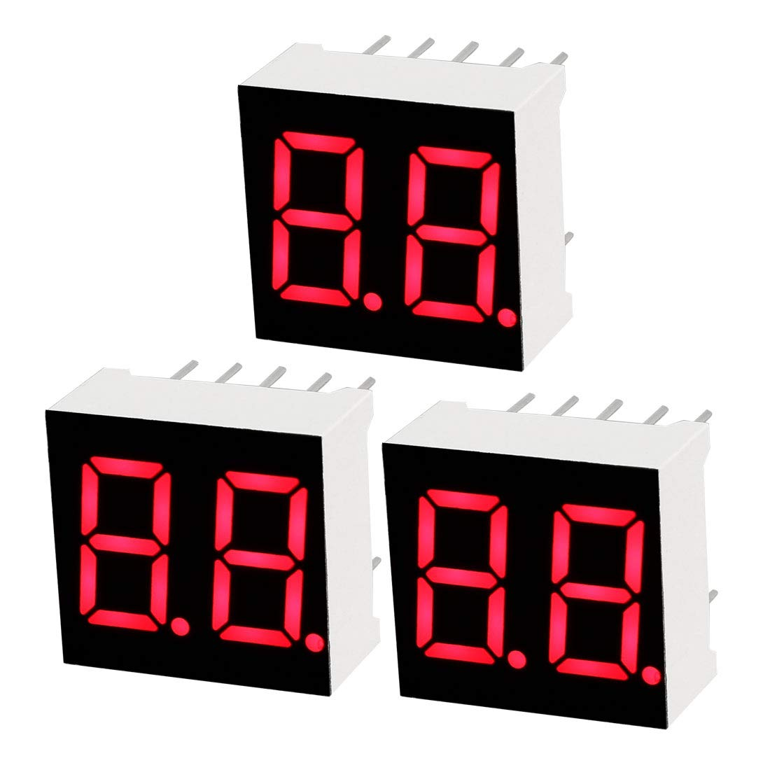 """uxcell Common Anode 10 Pin 2 Bit 7 Segment 0.59 x 0.55 x 0.28 Inch 0.35"""" Red LED Display Digital Tube 3pcs"""