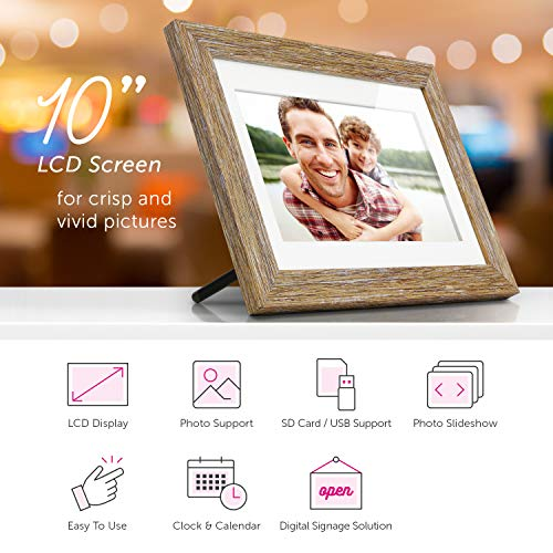 Aluratek (ADPFD10F) 10 inch Digital Photo Frame with Auto Slideshow, Distressed Wood Border, 1024 x 600, 16: 9 Aspect Ratio, Wall Mountable by Aluratek (Image #3)