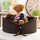 Glumes Pet Puppy Bed, Soft Princess Bows Lace Heart Elegant Lovely Bed Small Dog Cat Bed Ideal (M, Brown)
