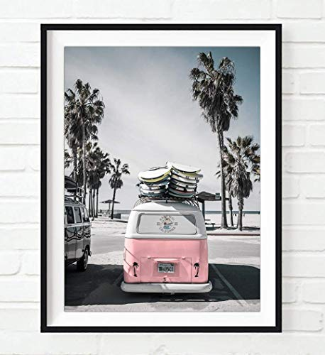 Pink Van at Beach Ocean Nautical Photography Print, Unframed, Coastal Palm Trees Home and Wall Decor, All Sizes