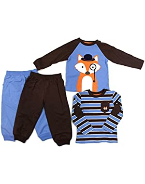 Infant Toddler Boys 4 Piece Fox Daycare Set