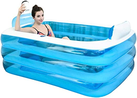 DSFGHE Piscina Inflable Rectangular, Niño Adulto Bañera Plegable ...