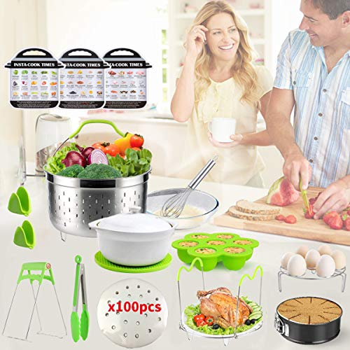 Pressure Cooker Accessories Set for Instant Pot Accessories 6,8 Qt-Steamer Basket,Non-stick Springform Pan,Egg Bites Mold, Egg Rack,Steamer Trivet,Kitchen Tongs,3 Cheat