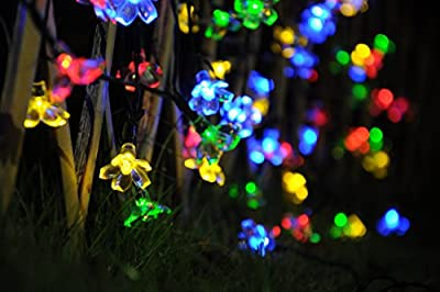 50 LED Solar String Lights Fairy Outdoor Multi-color Peach Blossom Gardens, Lawn, Patio, Christmas Trees, Wedding, Party By Uping