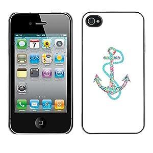 TopCaseStore / la caja del caucho duro de la cubierta de protección de la piel - Anchor Teal White Minimalist Boat Sea - Apple iPhone 4 / 4S