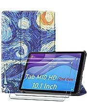 HYMY Lenovo Tab M10 HD 2nd Gen TB-X306F TB-X306X fodral + 2Pcs skärmskydd för Lenovo Tab M10 HD 2nd Gen TB-X306F TB-X306X Folio fodral - Flip fodral Premium Leather Folio fodral