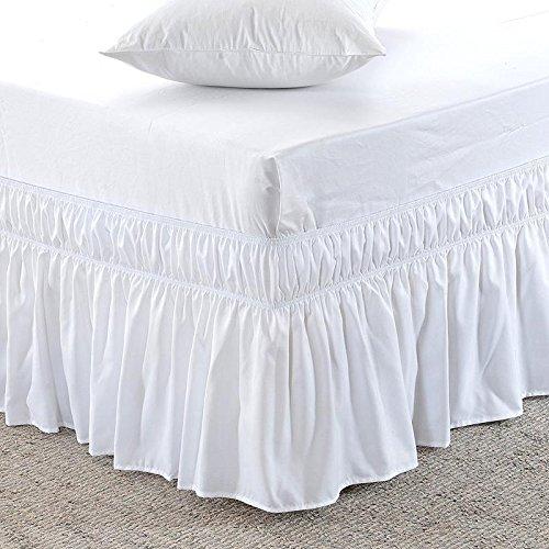 superlinen 3つファブリックSides Wrap Around伸縮性のソリッドベッドスカート、簡単/簡単オフ21-inch Tailoredドロップ100 %エジプト綿600スレッドカウント{クイーン、ホワイトソリッド} B0771R7ZH2