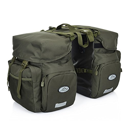 (ZTZ Canvas Cycling Bicycle Bike Pannier Rear Seat Bag Rack Trunk (Waterproof, Roll-Up) (Army Green) )