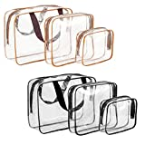 Madholly 6 pieces Clear Travel Toiletry Bag, Portable Travel Transparent See Through Cosmetic Makeup Bag Pouch, include 2 pieces TSA Approved 3-1-1 Airline Carry On Compliant Quart Bag
