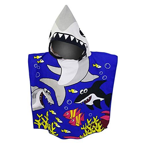 (White Kaiman Kids Hooded Beach, Pool & Bath Towel Soft Microfiber Multi-Purpose Poncho Swim Cover Changing Robe w/Fun Characters (Deep Blue Shark))