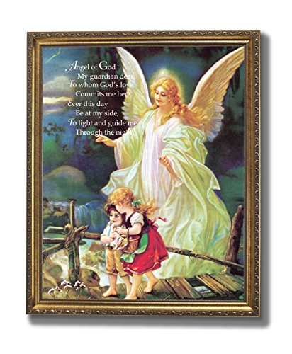 Guardian Angel Poem Children Bridge Religious Wall Picture Gold Framed Art Print