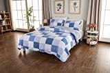 CozyLand Classicl Blue Printd 3 Piece Designers Pre-Washed Lightweight Patchwork Quilt Set for All Seasons Super Soft Queen