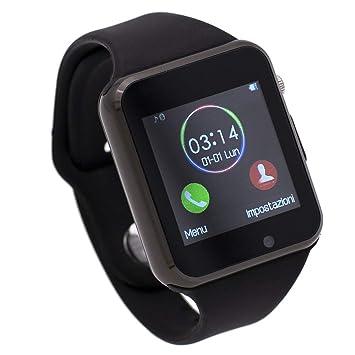 Montre connectée Compatible avec Samsung Galaxy J3 2017,CEKA TECH® Bluetooth Smart Watch avec Caméra Écran Incurvé Tactile Support SIM/TF Card ...