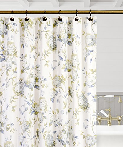 Simple Comfort Abigail Traditional Hydrangea Floral Print (Shower Curtain, 72 x 72, Porcelain)