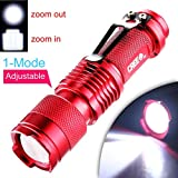 Enjoydeal Red Portable Mini CREE Q5 LED 1200 Lumen Zoomable Flashlight Torch AA/14500