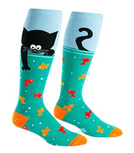 Sock It to Me, Gone Fishing', Wide Calf, Unisex Stretch-It Knee High Socks (Pencil Knee High Socks)