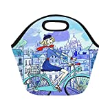 "Interestprint Young Woman Bicycle Watercolor Reusable Insulated Neoprene Lunch Tote Bag Cooler 11.93"" x 11.22"" x 6.69"", Girl Bike Paris Portable Lunchbox Handbag for Men Women Adult Kids"