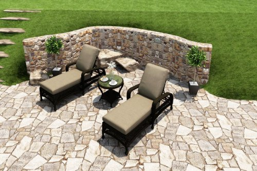 Forever Patio 3 Piece Catalina Rattan Chaise Lounge Set, Sable Wicker with Beige Sunbrella Cushions (SKU FP-CAT-3CLS-SB-MS)