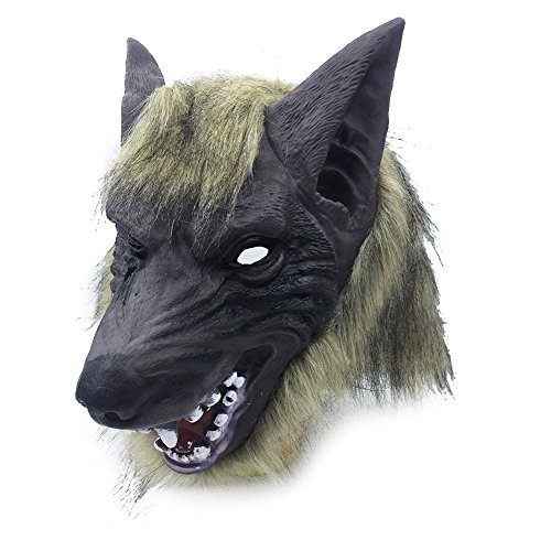 Bingirl Scary Lion/Tiger/Wolf Head Full Face Horror Masquerade Masks Halloween Props ()