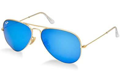 4d4f042656 Image Unavailable. Image not available for. Color  Ray Ban RB3025 112 17 55 Matte  Gold Blue Mirror Large Aviator ...