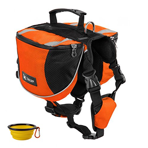 GrayCell Dog Saddlebags Hound Travel Hiking Camping Backpack for Medium Large Dogs (Orange,L)
